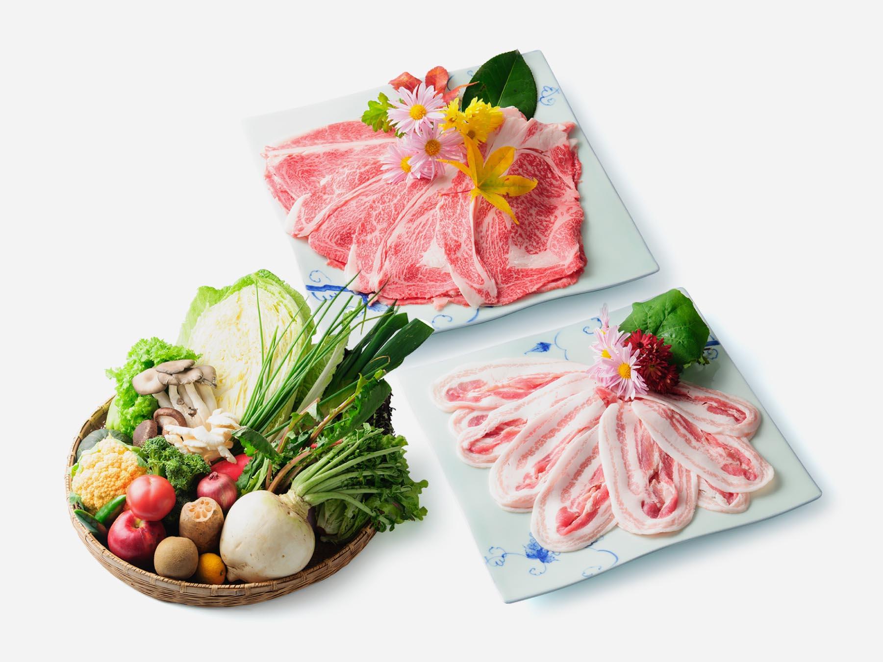 上州和牛/新鮮な野菜/上州麦豚(食材写真)